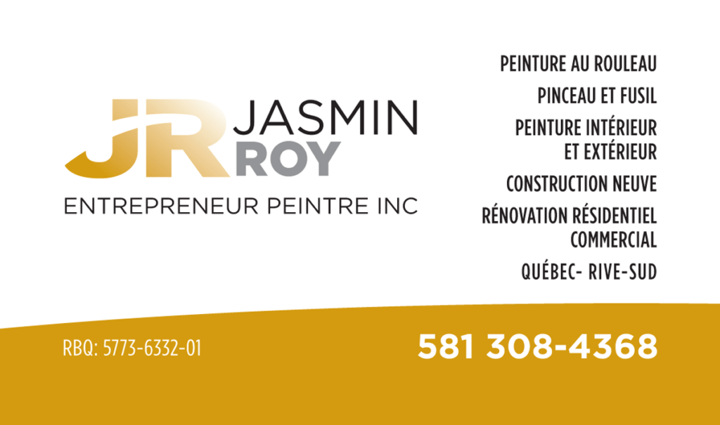 Carte d'affaire de Jasmin Roy Entrepreneur Peintre inc.